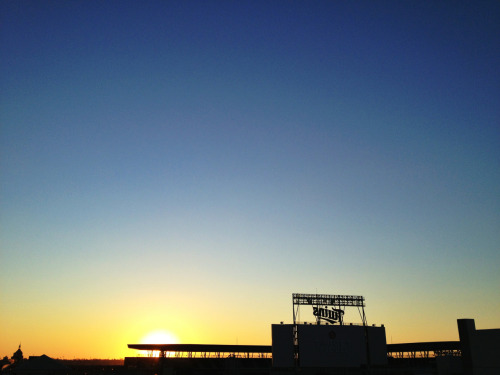 bigboxcar:  Winter sunset in front of Target Field today. Downtown Minneapolis.