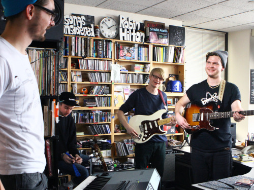 nprmusic:  Alt-J plays angular, poetic music that takes unexpected turns, shifting gears when you least expect it. Watch the U.K. band play the NPR Music office. Photo: Lauren Rock/NPR  Fav new band of 2012
