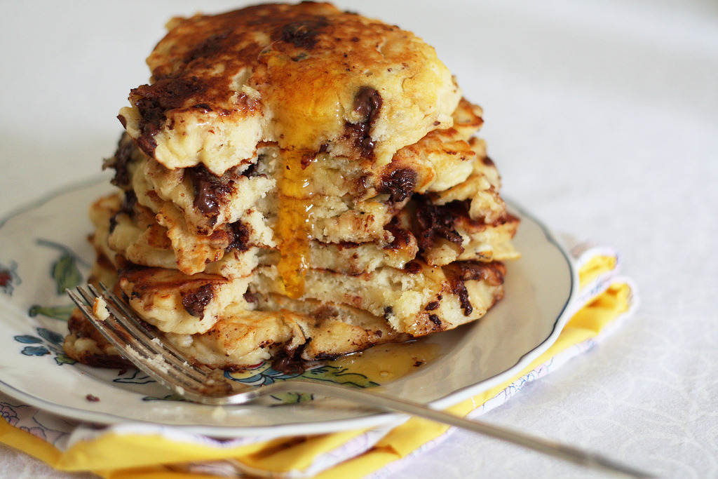 f-word:  chocolate chip hazelnut pancakes with maple syrup photo by emma@vanillasplash