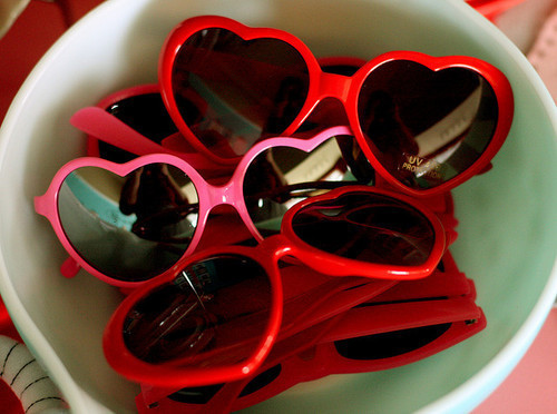 I'm starting to collect heart-shaped glasses kinda like this…but mine aren't *all* red because come on.