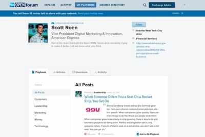 Have you seen the new OPEN Forum?Scott Roen, Vice President of Digital Marketing and Innovation at American Express, introduces a brand new OPEN Forum by asking, why do entrepreneurs share advice? The new OPEN Forum helps entrepreneurs share ideas, get and give advice, and discuss experiences leading to small-business success.More than a redesign (though we're pretty excited about that, too), OPEN Forum features a community where you can give and get advice. It's where you can find, save and share insights from OPEN Forum—and from around the Web. And it's a place for meeting fellow entrepreneurs and business owners, experts and other like-minded individuals. We recognized that building connections is still as important today as it was in 2007; it's just how we do it that's evolved. (via OPEN Forum: Why Do Entrepreneurs Share Advice? | | The New OPEN ForumThe New OPEN Forum)