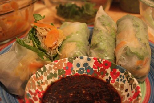 Spring Rolls with Enoki Mushroom, Ginger, & Carrots and a Hoison Mustard Chili Garlic Sauce. on Flickr.