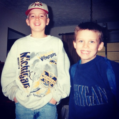 This is what @nolansheldon and I looked like the last time Michigan was in the National Championship game. Go Blue!