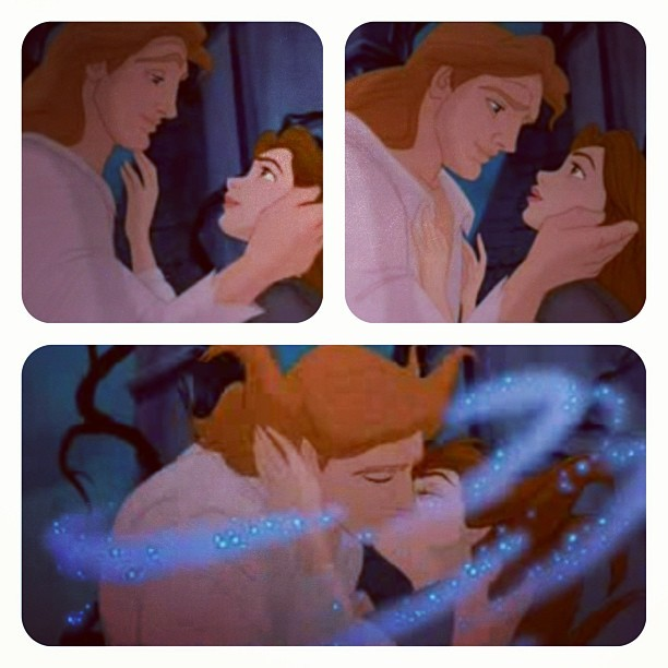 Disney Photo a Day Challenge: Day 14: Favorite kiss. The kiss Belle and the Beast (Prince Adam) share is literally magic. Look at them sparkle. Swoon. #disneyphotoadaychallenge #disney #dayfourteen #favoritekiss #beautyandthebeast #thebeast #princeadam #princessbelle #belle #picstitch