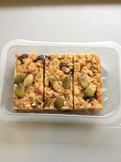 Snack time! Fruit and seed flapjack with a cup of tea :) perfect.