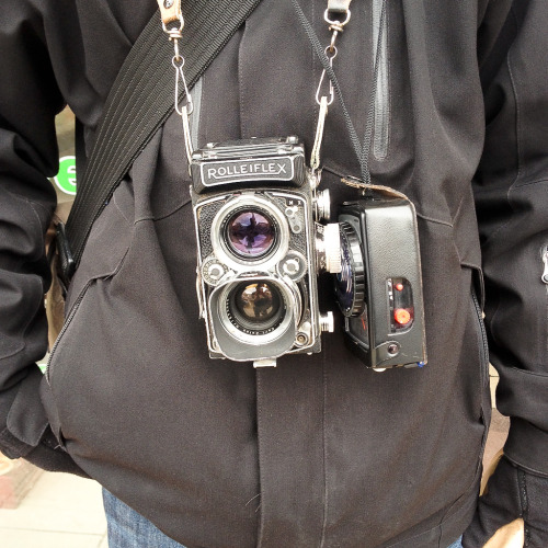 Dundas West Rolleiflex 2.8 D This is Neil Ta. The next camera is his, too. This Rollei did this clever double-exposure.