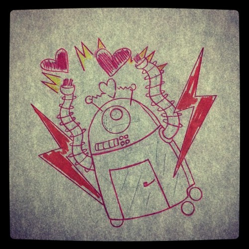 delianne:  This will happen in a few! Stoked! #robot #loveobot #crazyinlove #electric #tattoo #stencil #girltattooers #girlwithtattoos #originaldesign #dellymedina #ponceart #puertoricoart