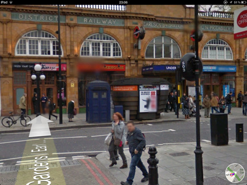 """Earl's Court was an embarrassment"". Google Street View screenshot from Maps on iPad, iOS 5. See also."