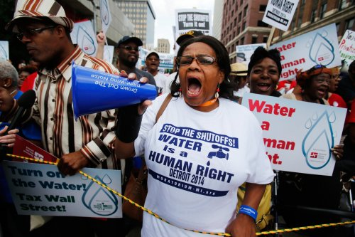 """thepeoplesrecord:  Detroit water shutoffs continue after judge says poor have no right to waterSeptember 29, 2014 U.S. Bankruptcy Judge Steven Rhodes on Monday refused to block the city from shutting off water to delinquent customers for six months, saying there is no right to free water and Detroit can't afford to lose the revenue. Rhodes's order served as a stinging rejection of arguments made by thousands of protesters who staged rallies last summer fighting shutoffs and argued that there is a fundamental right to water service. """"There is no such right or law,"""" Rhodes said. A six-month ban on water shut-offs would boost the rate of customer defaults and threaten Detroit's revenue, the judge added. """"The last thing (Detroit) needs is this hit to its revenues,"""" the judge said. Rhodes issued his ruling after two days of hearings last week and said he lacked the power to issue a water shut-off moratorium. Regardless, a lawyer for 10 residents failed to convince him there was justification for such a drastic step, he said. Rhodes said residents do not have a right to receive water service """"let alone service based on an ability to pay."""" Alice Jennings, an attorney representing the 10 residents fighting water shutoffs, said she was """"disappointed but not surprised"""" by the judge's ruling. Rhodes, she said, missed the issue of safety and underscored the irreparable harm that comes with the shutoffs. """"We will be looking at an appeal,"""" Jennings said. """"We believe there is a right to water and there is a right to affordable water."""" The city's policy of shutting off water to residents in one of the nation's poorest cities briefly overshadowed the city's historic bankruptcy case and debt-cutting plan, which hinges on spinning off the Detroit Water and Sewerage Department to suburban counties. The city started a more vigorous shut-off campaign in the spring compared to other years in an effort to get more people to pay their outstanding bills or get on a payment plan. Rhodes on Mo"""