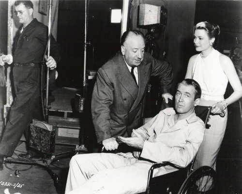 "Alfred Hitchcock, Jimmy Stewart and Grace Kelly on the set of ""Rear Window"" (via http://imgur.com/a/Ep395 via The Playlist)"