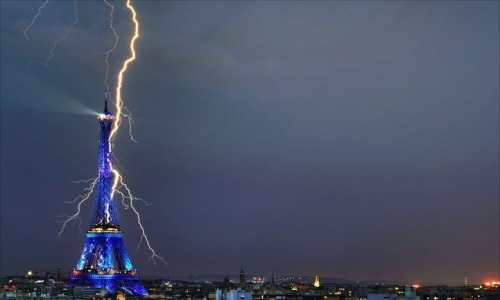 "sosuperawesome:  10 Awe-Inspiring Photos of Lightning What better way is there to show both the beauty and power of nature than with these incredibly electrifying images of lightning? While sometimes it just takes being at the right place at the right time, like for amateur photographer Bertrand Kulik and his photo of a brightly illuminated Eiffel Tower, for others, like Dan Ransom, it requires carefully assembling a composite image or ""stacking"" multiple photos together to showcase a wild electrical storm (like the one Ransom stunningly captured at the Grand Canyon). Whether these magnificent shots were the result of luck, hard work or patience, they all give us a deeper appreciation for a part of nature we rarely get to see. Click through for image sources.  Just astonishing!  Nature never fails to amaze me!"
