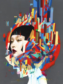 erikjonesart:  Erik Jones / City / Watercolor, Pencil, Acrylic, Wax Pastel, Oil / 2013  (For more info regarding pricing and availability contact spokeartgallery@gmail.com)