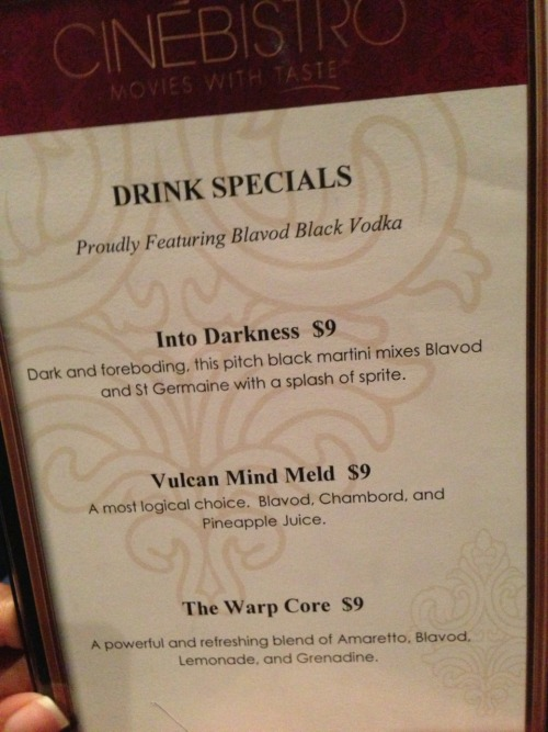 Specialty drinks at the Star Trek Into Darkness premiere. Tasty but weak. Needs more liquor. Great movie. Was better than Iron Man 3 in my opinion.