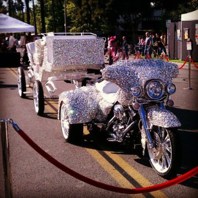The #Bedazzled motortrike-drawn carriage my band #Jerkotron arrives to shows in.