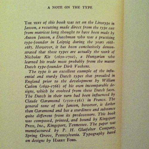 A detailed bit of history of a typeface in the #colophon of The Possessed, a play by #Camus (adapted from the novel of the same name by #Dostoyevsky). A #Knopf publication.