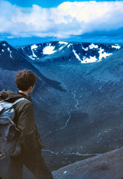 refluent:  August 1967 - snowbeds still remaining on Braeriach. (by ScotiaIsles)