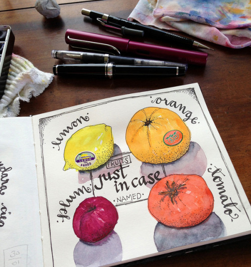 Fruit on my sketchbook by MagaMerlina on Flickr.