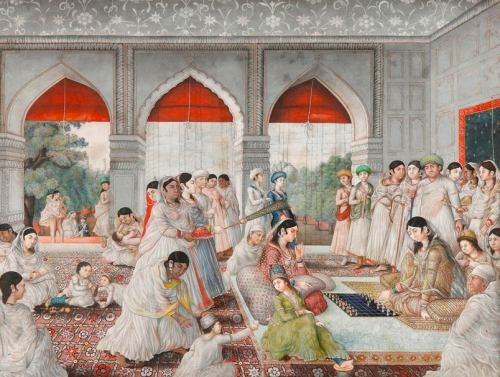 dispirits:  Noblewomen playing chess, ca. 1780-1800. By Nevasi Lai: Lucknow, India.