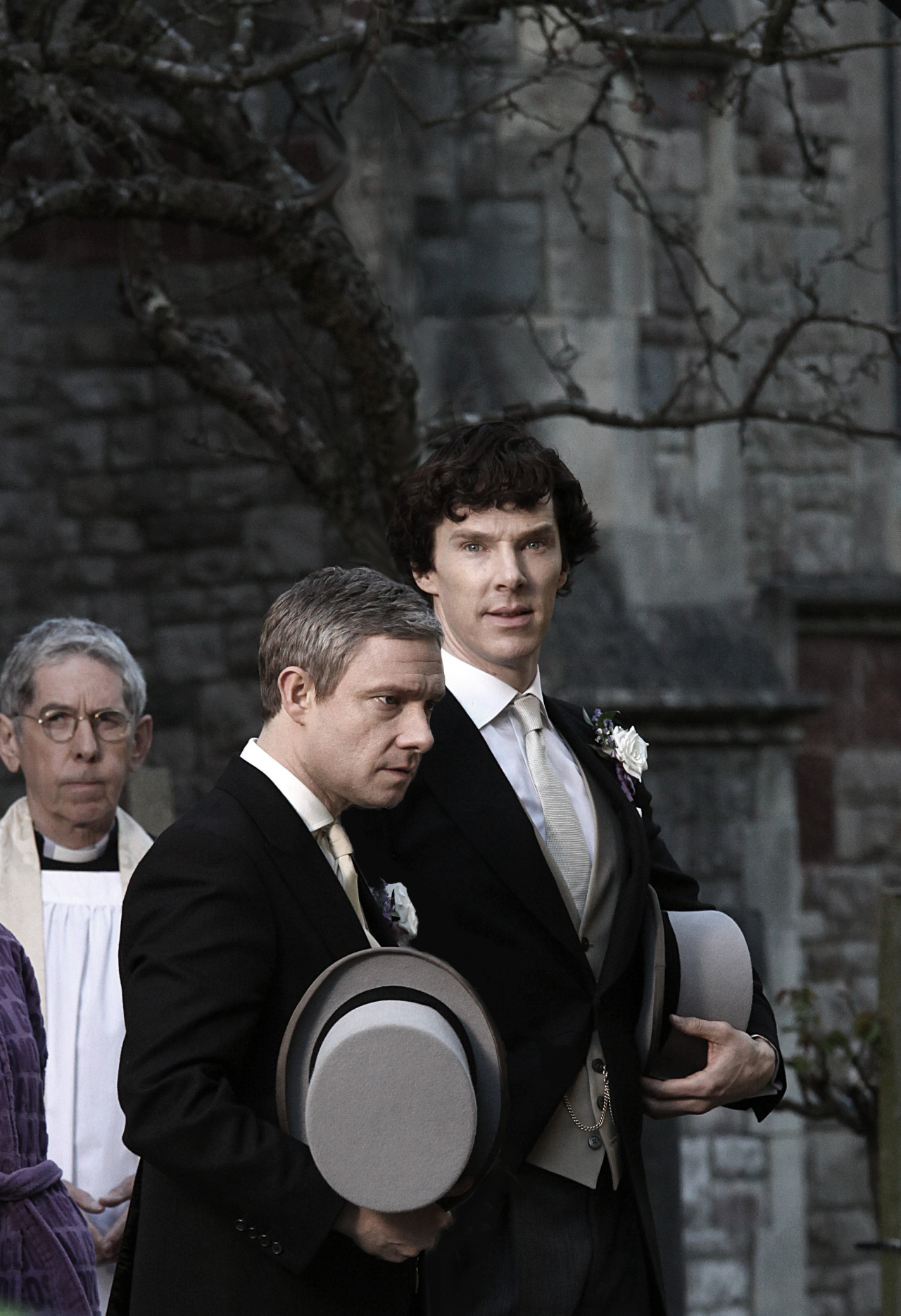 "wearejohnlocked:  verity-burns:  ""Where's your bride?"" ""Mary? Oh, she's not my bride."" ""What?"" ""No, she's just a friend. A good friend, mind you, but no more than that."" ""What are you talking about? You're marrying her in a little less than half an hour."" ""I don't think so."" ""Have you hit your head?"" ""Nope."" ""You're serious?"" ""I'm dead serious."" ""Then why on earth have we gone through this rigmarole?"" ""Got you here, didn't it? And wearing a TIE, no less."" ""Of course I'm wearing a tie - I thought you were getting married today!"" ""Oh, I am."" ""What?"" ""Or at least, I hope to be."" ""You are making no sense whatsoever."" ""I know how you feel about me."" ""No you don't. How do you?"" ""Suspected soon after you came back, actually. But I couldn't be sure until I saw your face when I said I was leaving."" ""So this whole thing has been… what? Punishment?"" ""Would you rather I'd punched you?"" ""You did punch me!"" ""Well, you deserved it."" ""And did I deserve this? To have to stand here and watch while you… Oh."" ""Oh?"" ""You're not marrying Mary?"" ""I'm really not."" ""But you are getting married."" ""Well, that rather depends."" ""On?"" ""On whether or not you'll have me."" ""…"" ""Sherlock?"" ""But… One can't just turn up in front of a vicar and get married, John. There are formalities…"" ""It's amazing what you can arrange when the British government owes you a favour."" ""But… Me?"" ""Of course you."" ""But we're not… I've never even…"" ""If you want me. So do you, Sherlock? Do you want to marry me?"" . . ""I do.""  EVER SINCE THESE PICTURES APPEARED I'VE BEEN WAITING FOR SOMETHING LIKE THIS"