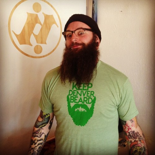 indyink-home:  These keep #denver beard shirts were just finished up for #aaronpettijohn. They will be available for purchase at @iheartdenver and hopefully at @indyinkdenver and was modeled by our very own denver beard @bearic80 (at Indy Ink)   New shirt design by my brother