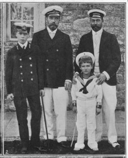 George, duke of York, posing with his cousin, Tsar Nicholas Ii of Russia, his nephew Tsarevich Alexei Nicholeavich and son, Edward, prince of Wales.   Mids-late 1900s.