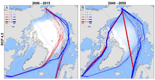 "Climate change will open up surprising new Arctic shipping routes ""Right now, the Arctic Ocean is still too icy and treacherous for open-water ships to traverse with any regularity. The Northwest Passage is only navigable during the summer months once every seven years or so. Too unreliable for commercial shipping. But that will soon change. As the planet keeps warming, the Arctic's summer sea ice is vanishing at a stunning pace. That rapid melt is expected to have all sorts of sweeping impacts, from speeding up climate change to wreaking havoc on weather patterns. On the flip side, the loss of sea ice could also open up some potentially lucrative new trade routes between the Atlantic and Pacific Oceans. A new study in the Proceedings of the National Academies of Science, led by UCLA geographer Laurence Smith, looks at how the Arctic will change under even modest levels of global warming. Through computer simulations, the researchers found that open-water vessels will be able to, in theory, cross the Northwest Passage and North Sea Route regularly in the summer by 2050 without icebreakers. And icebreaker ships may be able to ram right through the North Pole: The blue lines show the fastest routes available for common open-water ships during the summer, while the red lines show routes available for Polar Class 6 ships with moderate icebreaker capacity. By 2040-2059, there are many more routes. The change here is quite striking. Right now, no commercial shipping goes through the Northwest Passage that hugs northern Canada. Yet by mid-century, those routes could potentially be clear for open-water vessels every other summer. Likewise, the Northern Sea Route that hugs Russia is projected to be open in late summer 90 percent of the time, up from 40 percent today."" Via WaPo"