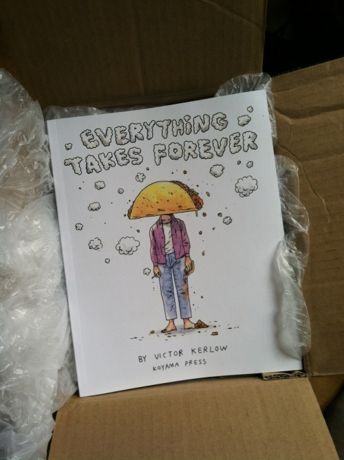 Hey everyone! I just got a bunch of copies of my new comic EVERYTHING TAKES FOREVER from Koyama Press today and I am PSYCHED! The cover is so smooth!It's available for pre-order on Amazon, with a link HERE. Check it out! It's cheap! Buy one! Buy nine! Buy a million!Email me at victormk at gmail dot com with your proof of pre-order and for the first 20 I get, I'll send you a watercolored drawing as thanks for the support.