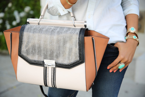 ShopBelina bracelets & ring | Allie whip-stitch satchel via BCBG (image: vivaluxury)