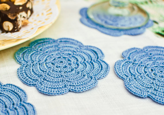 (via Coaster Set Hostess Gift Dusk Blue by BobbiLewin on Etsy)