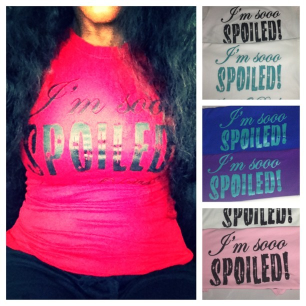 #IAmSoooSpoiled #SpoiledODiva #Tshirts now available in 5 colors white/blk, white/turq, blue/turq, purple/turq, pink/blk regular $25 now $20 email HairBybeautiij@gmail.com to order shipping  size  m-3xl available GETYOURS ASAP !! #buynow #shop #iselltshirts