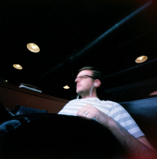 Self-Portrait via Pinhole on Flickr.Via Flickr: Yours truly, at the coffee shop, as captured by my Zero Image pinhole.