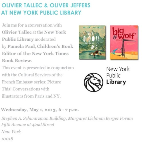 Myself and French artist @oliviertallec will be chatting at the @nypubliclibrary tonight, moderated by Pamela Paul from the NY Times Book Review