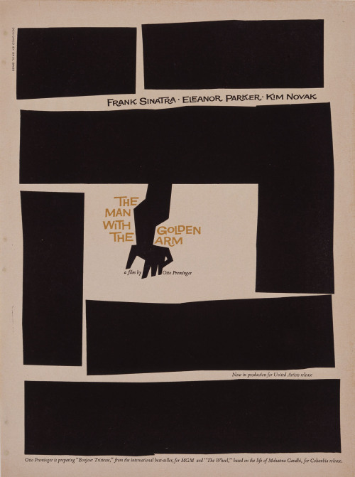 The Man With The Golden Arm 1955 B/W Trade Ad Art By Saul Bass