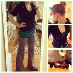 katerinabeth:  {What I Wore: Tuesday, January 29, 2013} It feels like spring in Chicago today (60 degrees!). Worn to work, and maybe the grocery store if I decide to go. Most of this stuff is super old, but I still like it. (My hair is a little screwy. Oops. Top knots are not my forte. You would think that with all my years of ballet I would have the bun nailed by now.) Striped top (Old Navy) | Blazer (Forever 21) | Pants (Victoria's Secret, color no longer available) | Shoes (Ross) | Crochet headband and bracelet (made by me last week).  Reblogging myself cuz I liked my outfit today :)