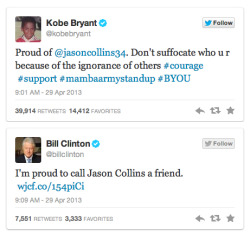 "Roar of the Crowd: Social Media Cheers of Encouragement for Jason Collins- Stef McDonald shared in Sports and Living When news broke that pro basketball player Jason Collins came out as gay, supporters—from fellow athletes to a former President—flocked to Twitter to send him words of support and thanks. In his Sports Illustrated story, he wrote, ""I wish I wasn't the kid in the classroom raising his hand and saying, 'I'm different.' If I had my way, someone else would have already done this. Nobody has, which is why I'm raising my hand."" In this case, tweets of support are like virtual high-fives. Way to go. Continue to mashable.com"
