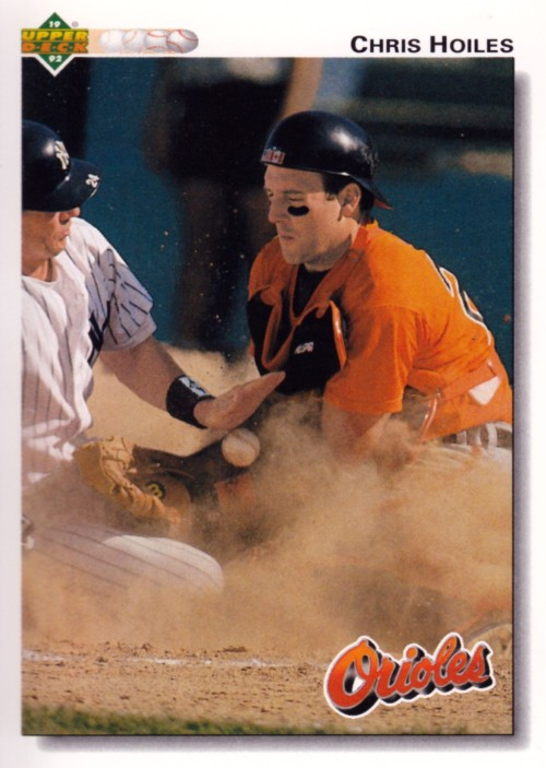 Random Baseball Card #2323: Chris Hoiles, catcher, Baltimore Orioles, 1992, Upper Deck.
