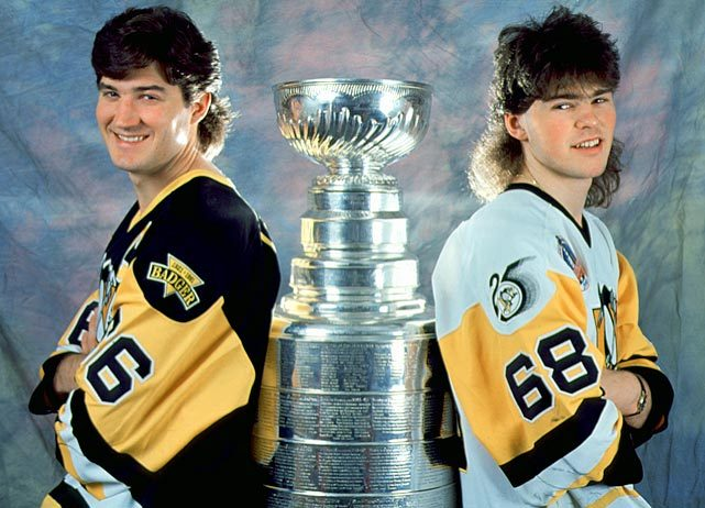 Mario Lemieux and Jaromir Jagr show off their mullets as they pose with the Stanley Cup. (Bruce Bennett/Getty Images) GALLERY: Great NHL Hairstyles