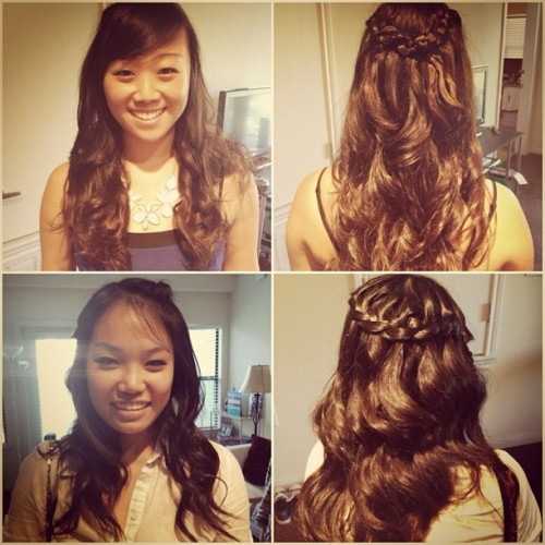 These cuties are going to formal! #braids #curls @beccayao