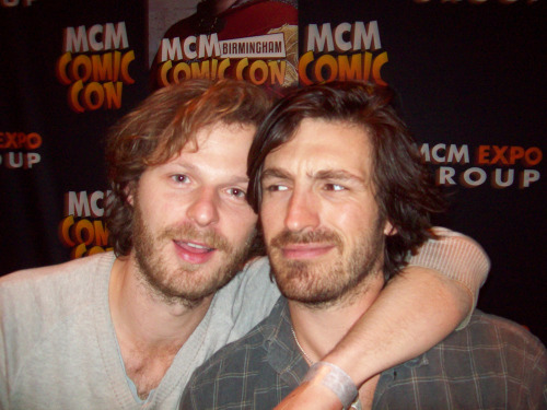 thewinchesterswagger:  Rupert Young and Eoin Macken at Birmingham Comic Con 2013. These guys are like bffs! Love your face Eoin, he was smiling just before the pic was taken.