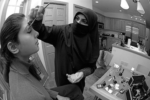 "androphilia:  Life With The Hijab By Sadaf Syed ① University of Michigan's DJ Hadeel Al-Hadidi created and broadcasts her own hour-long radio program.② Scholars teach that Islam encourages sports and physical activity for all, wrote Sayed. The prophet Muhammad is said to have invited his wife Aisha to a foot race.③ Nadia Afghani, left, and Nadia Chohan make up Hijabi Deafness, a Muslim punk rock/hip-hop band.④ Michelle Yim, a network engineer, skis, swims, body surfs, rides motorcycles – all while wearing the hijab.⑤ Atlanta-based Mariem ""Punchenella"" Brakache (5-5, 1KO) is a former IBA Junior Middleweight Champion, boxing coach and renowned trainer.⑥ A ballerina and tap dancer from Texas, Hiba Awad is anxious to prove ""how versatile and unique a Muslim woman can be.""⑦ Nousheen Yousuf said the practice of tae kwon do ""taught me to treat daily prayers as a real meditation, where the focus is on my relationship with God.""⑧ Nosheen Cassim, a part-time makeup artist and full-time mother of two, was born and raised in Illinois, but has been threatened by strangers who told her to ""go back to where she came from.""⑨ No matter how different they may look from other beachgoers, Sama Wareh, left, and Aurelia Khatib believe in doing what they love, including surfing.⑩ Asma Azim, a step-grandmother from Pakistan, has been a manager of mechanics and a truck driver for more than a dozen years. She said her male contemporaries treat her with respect – especially when they discover she can repair her own engine."