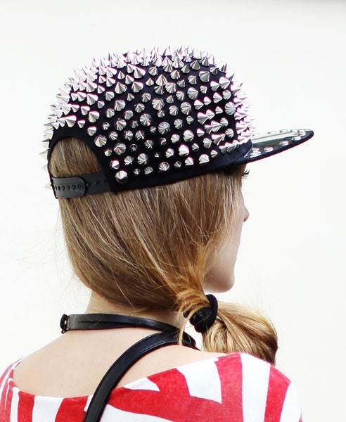 what-do-i-wear:  Black Punk Spike Cap with Metal Brim available from Chicnova