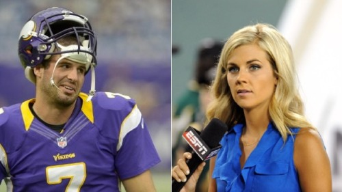 Christian Ponder And Samantha Steele Got Married (via Deadspin) This is clearly not my business, but man, that was fast. The Vikings QB and ESPN reporter tied the knot after about three months of dating and a two-week engagement.  When you know, you know? Posters for the website Total Frat Move are speculating that they fast-tracked the courthouse wedding because A) Steele's preggers or B) she wouldn't sleep with him unless they were married.  Or, you know, maybe they just recognized that they make each other happy and didn't feel like conforming to some socially acceptable timeline to make it official.  I mean, isn't that really the only reason you should need? (And for the record, if they are expecting, their kid is more than likely going to be unfairly adorable.)