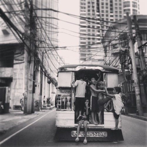 #Manila #jeep #street #Binondo #kids #black #white