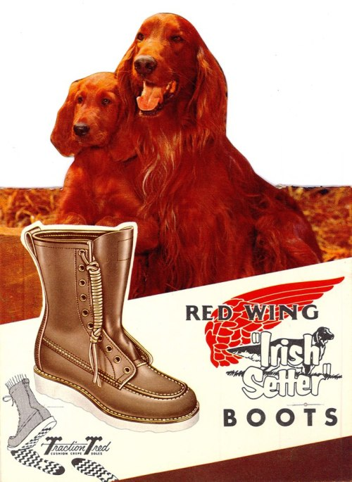 "In 1950, a beautiful new leather was created specifically for Red Wing using a dye made from the bark of trees with a naturally red coloration. The leather was named ""Oro Russet"" for the richness of its color, a color that resembled the coat of an Irish Setter hunting dog, and was used to build some of the first 877 style boots."