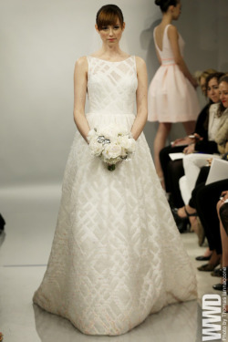 womensweardaily:  Theia White Bridal Spring 2014  I cannot imagine why anyone would want to wear one of Trudy's housecoats to get married in.