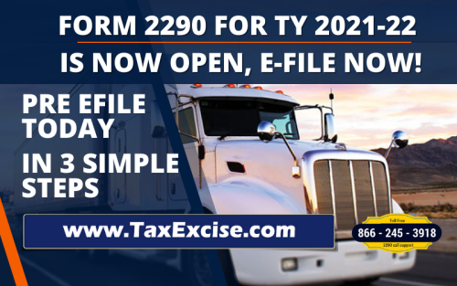 Form 2290 for the upcoming HVUT (2290) Tax Period July 2021 through June 2022 in now ready here at Tax229o.com. Starting from June 1, 2021 truckers who has to report and pay the 2290 vehicle use taxes can get an access to the website to prepare and pay 2290 taxes well ahead of the schedule, which is supposed to start from July 1, 2021. Prefiling is early filing, prepare the tax 2290 return and submit it in the website, the return then stored securely in the servers until IRS is ready and starts processing for 2021 – 2022 tax period, by early weeks of July 2021. #prefiling 2290 #2290 tax prefiling #2290 prefiling #form 2290 prefiling  #prefiling 2290 tax  #2290 tax efiling  #tax 2290 preparation  #Form 2290 for 2021
