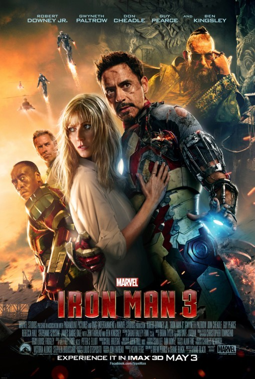 "filmfun:  'IRON MAN 3' Review by Steve Oatney —  This fantastic third installment in the Tony Stark saga (fourth, if you count 'The Avengers'), is a worthy story to be told, and a worthy film to watch. Could it have been better? Of course. Could it have been much worse? For sure.  Director Shane Black took the reigns from Jon Favreau and pulled off another fun blockbuster of a superhero flick. Below are some aspects that I think Shane Black and writer Drew Pearce included to steer the ongoing Iron Man story in a positive direction:  — They made Tony Stark (Robert Downey Jr.) a more troubled soul and show him suffering from Post-Traumatic Stress Disorder type symptoms. He is chased by his inner demons, and has difficulty with panic-attacks and cannot sleep. Great idea, though I would have liked to see it pushed even further into an even darker place for Tony. His small, and often humorous, panic-attacks were a bit too comedic and in my opinion, would have been much more powerful if they were portrayed as scary and/or dangerous to his physical and mental well-being. — They introduced an iconic Iron Man arch-enemy straight out of the Marvel comic-books, ""The Mandarin,"" originally created by Stan Lee and designed by Don Heck. While the on-screen character was deftly played by Ben Kingsley, he was not much like the genius-scientist/martial-artist/wizard that came from the sequential-art pages. I'll not give a spoiler here, but let's just say that Kingsley got to play a unique and twisted twist on the Marvel villain. Yes, I said ""twisted twist,"" yeah, so! — They gave Pepper Potts (Gwyneth Paltrow) a real meat-on-the-bones integral role this time! While the brilliant actress got good amounts of screen-time in the first two films, in '3' she didn't just get to help the hero, she became a heroine full-on! For me, I just cannot get enough of strong female characters (hint hint, DC Comics, lets get Wonder Woman to the big screen). With acting talent, such as Paltrow's, it is easy to take a character like Pepper to the next level, and kudos to them for doing so! Did I believe that the character might make all of the decisions she made in this film? Well, maybe not, but being in a relationship with Tony Stark would certainly bring out hidden aspects of a person's personality, for sure, so I've let go of my criticisms of her somewhat hard-to-believe heroic choices made. — Guy Pierce doesn't tend to let me down, and didn't in IM3, either. Loved him in Memento, L.A. Confidential, and The Hurt Locker, to name a few, and I count him as a reliable actor pulling off every character I've seen him embody. In IM3, he plays Aldrich Killian, a brilliant scientist who's company strives for years to perfect a human-regenerative vaccine called ""Extremis."" — Extremis can not only heal the body, but also regrow lost limbs (not unlike the work of Dr. Curt Connors/The Lizard, from that other Marvel comic web-tastic film franchise). Of course, with a drug of this sort, it is bound to have major side-effects, and this one surely does, in spades. SPOILER: Those in the Extremis program can also super-heat their body parts at will, giving them the ability to melt or burn anything they touch, though some become victims as they are unable to control the explosive nature of the special-ability. Admittedly, this is a very cool power, and is based on the wonderful comic story-arc by Warren Ellis and Adi Granov. However, I found it quite odd that each time the Extremis villains utilized this heat-power, that neither their clothes nor hair ever burned away. At one point, one of them slowly walked through a gas-fire, in a kitchen, and came through the other side without their clothes ablaze. Fire-retardant fabrics must be standard issue for all of those folks, eh? Guess so. Still, the special-effects used for the Extremis effects are stellar. — Armor, a few words about armor… without the iron, there would be no Iron Man, right? Well, if you like the developing versions of Tony Stark's protective and multi-functional armor, then this movie will not disappoint! Another MINI-SPOILER: If you haven't seen all of the preview trailers, then you might not know that Stark has many new suits of armor, with all sorts of new capabilities. The kid in me loved seeing so many of them using their individual tech to battle baddies! I'm not so sure that they were all necessary, but it sure was fun, and filmmakers know that they now have to contend on a playing field with high-tech movies like 'Transformers,' 'G.I.Joe,' and 'Pacific Rim' coming July 12. LAST SPOILER: I'm not sure that I followed the ""clean-slate"" protocol at the end, but I suppose I like the idea of a clean-slate for Tony & Pepper from which to move forward. — A child element? OK, so they can't yet have Tony and Pepper have a child, as it is too soon with 'The Avengers 2,' and other films on the horizon. It would just be too complicated to fit a baby into the storyline, but they found away around that by using Ty Simpkins to play Harley Keener, a young boy with a bit of a tinkerer/inventor's soul who buddies up with Tony when Stark comes to his town to investigate a mysterious explosion cover-up that Tony felt had a connection to the terrorism of The Mandarin. The conversations and interactions between Tony and Harley were usually rife with comedic repartee, but unfortunately felt forced to me. Tony, I get it, he is a brilliant philanthropist and genius, so a quick-witted tongue is accepted, if not expected. For this little boy to keep up with Tony seemed a bit far-fetched, but again, it was fun, and well played. — ""Iron Patriot,"" the red-white-and-blue armor that Col. James Rhody (Don Cheadle) was much anticipated, with early on-set leaked photos, and more recent previews showing the patriotic Stark tech. Yes, very cool armor that would make even Captain America jealous, but Rhody's role felt a bit less kick-ass than when he donned the 'War Machine"" suit. Admittedly, Rhody does get a bit of out-of-suit action scenes and impressive stunts which certainly set him above your more typical serviceman, and furthermore showed himself as as extreme marksman with handgun accuracy that would impress The Punisher (another Marvel character who likes guns, maybe you've heard of him). — Jon Favreau may not have directed this installment, but he still played ""Happy Hogan,"" the previous bodyguard of Tony Stark, who is now head of security for Pepper Pott's Stark Industries team. A nice change for him, and gave us more of a glimpse into the character well played by Favreau. — Finally, a few additional roles played by Rebecca Hall and James Badge Dale were notable, and the always wonderful Paul Bettany who has played the voice of Jarvis, Stark's computer, in all three films, is the best-of-series actor who never gets any on-camera time. All in all, I really enjoyed Iron Man 3, and will recommend it to those who like the first two. For me, I rank it third among the three, but very close to 2 in quality. Keep going Marvel, I love what you're doing!!! —"