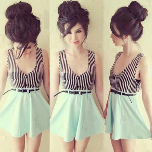 Cute dress #dress #spring #springfashion #style #hair #hairstyle #cute #pretty #pastel #color #pattern #bun #makeup #love #fashion #igfashion