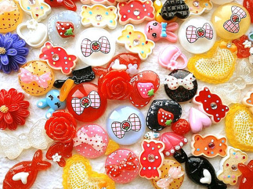 Kawaii Cabochons MIX 100 Set 5 DecoSweets http://www.etsy.com/listing/119843165/wholesale-kawaii-cabochons-mix-100-set-5