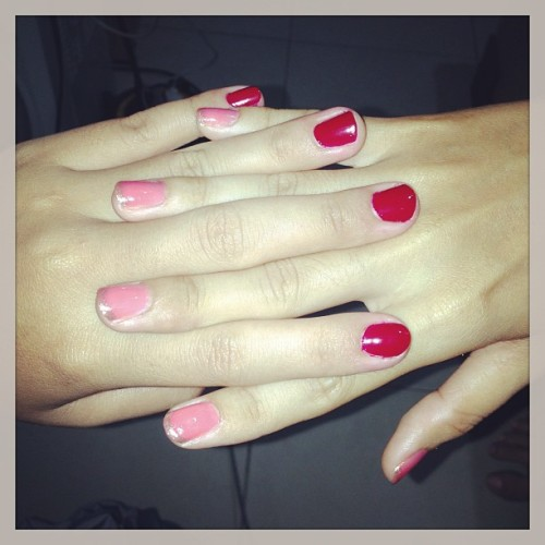 Our summer nails, where's yours?? #nail #art #color #plain #summer #pink #raven #red #sweet